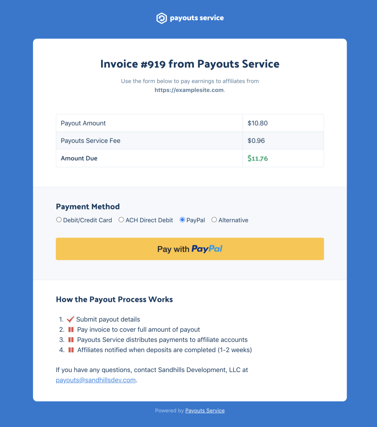 Screenshot - pay invoice with PayPal