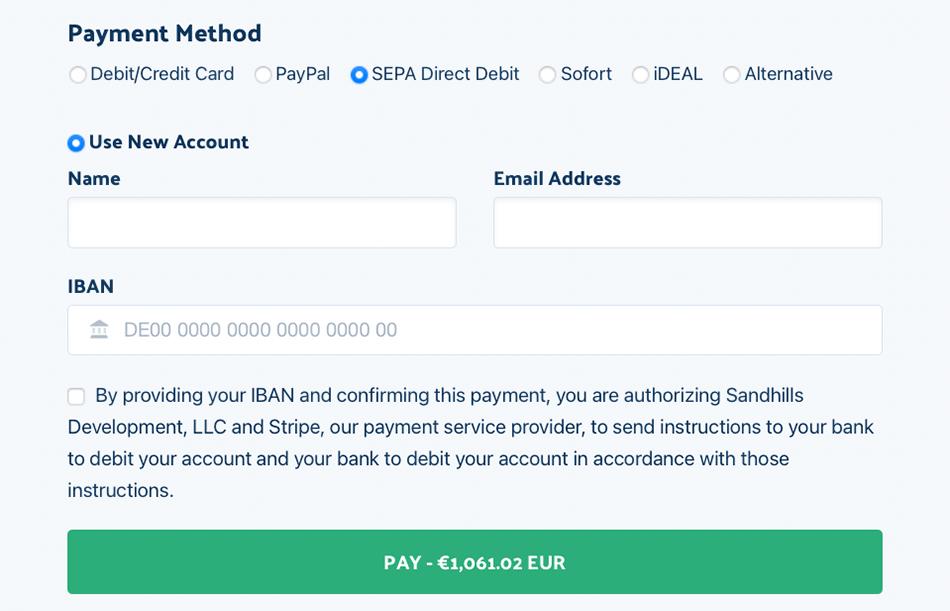 Screenshot - European payment options